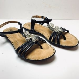 CLARKS BENDABLES Black Leather Beaded Sandals sz 8